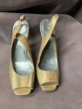 Jessica Simpson Women's 8.5B Leather Open Toe Sling-Back Heels Cork - $13.98