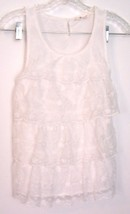 Sz 2XS/XS - H&M White Lace Ruffle Sleeveless Stretch Top - $18.99