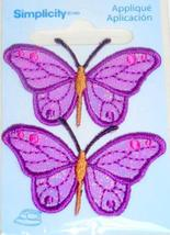 "Simplicity Iron-On Applique 2 Purple Butterflies Embroidered 1.25"" x 2"" ... - $1.25"