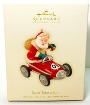 Hallmark Santa Takes a Spin 2008 Christmas Club Keepsake Ornament Race Car - $9.99
