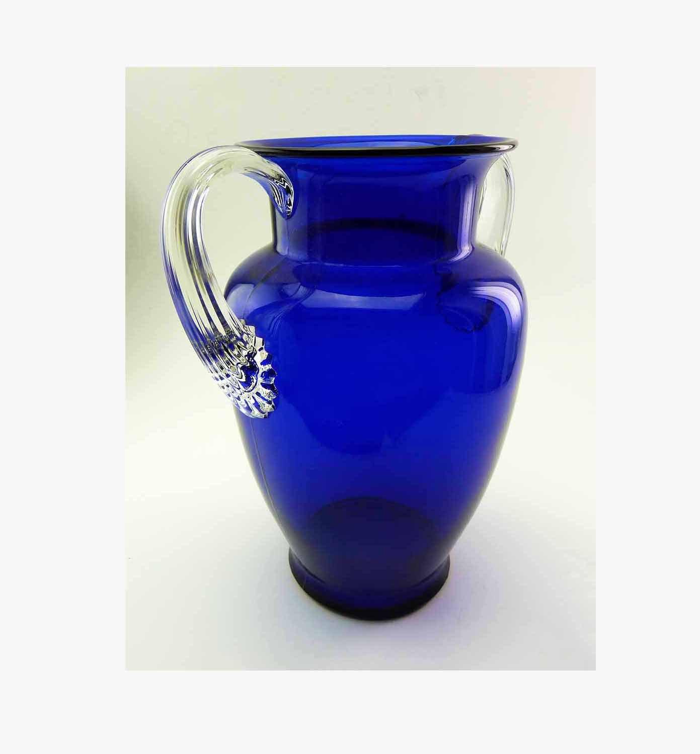 Tall Vintage Cobalt Blue Crystal Art Glass Urn Shaped Vase Applied Ribbon Handle - $58.90
