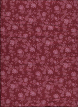 "New Dark Red with Flowers 100% Cotton Fabric 35"" x 43"" Piece - $6.93"