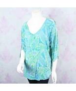 Bali Batiks Large L Blue Green Leaf Print Rayon Tie Dye Cold Shoulder To... - $34.64