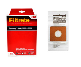 3M Filtrete Vacuum Bags Designed to Fit Samsung 5800, 5900 and 6300 5 Pack - $6.26