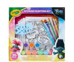 Crayola Sponge Painting Kit Trolls World Tour NEW Paint Brushes Coloring... - $14.39