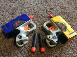 Lot of 2 NERF N-Strike Single Shot Soft REFLEX Guns darts Pistol Sidearm Blaster - $13.85