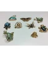 Lot of 9 Animal Brooches Bee Frog Turtle Butterfly Owl Goldtone Enamel R... - $17.81