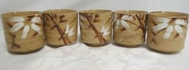 Unbranded Floral Pottery Cups Lot of 5 Tan - $61.79