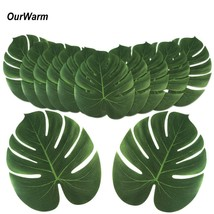 OurWarm 36Pcs Artificial Leaves for Decoration Tropical Palm Leaves Hawa... - $22.40