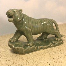 "WADE WHIMSY TIGER FIGURINE LARGE 8 INCH 8"" JADE GREEN STATUE WHIMSEY CAT... - $49.45"