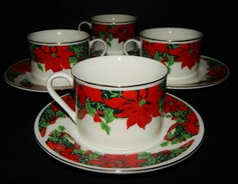 4 Holiday Cup & Saucers Gibson Houseware Christmas Holly Ribbon Poinsett... - $34.64