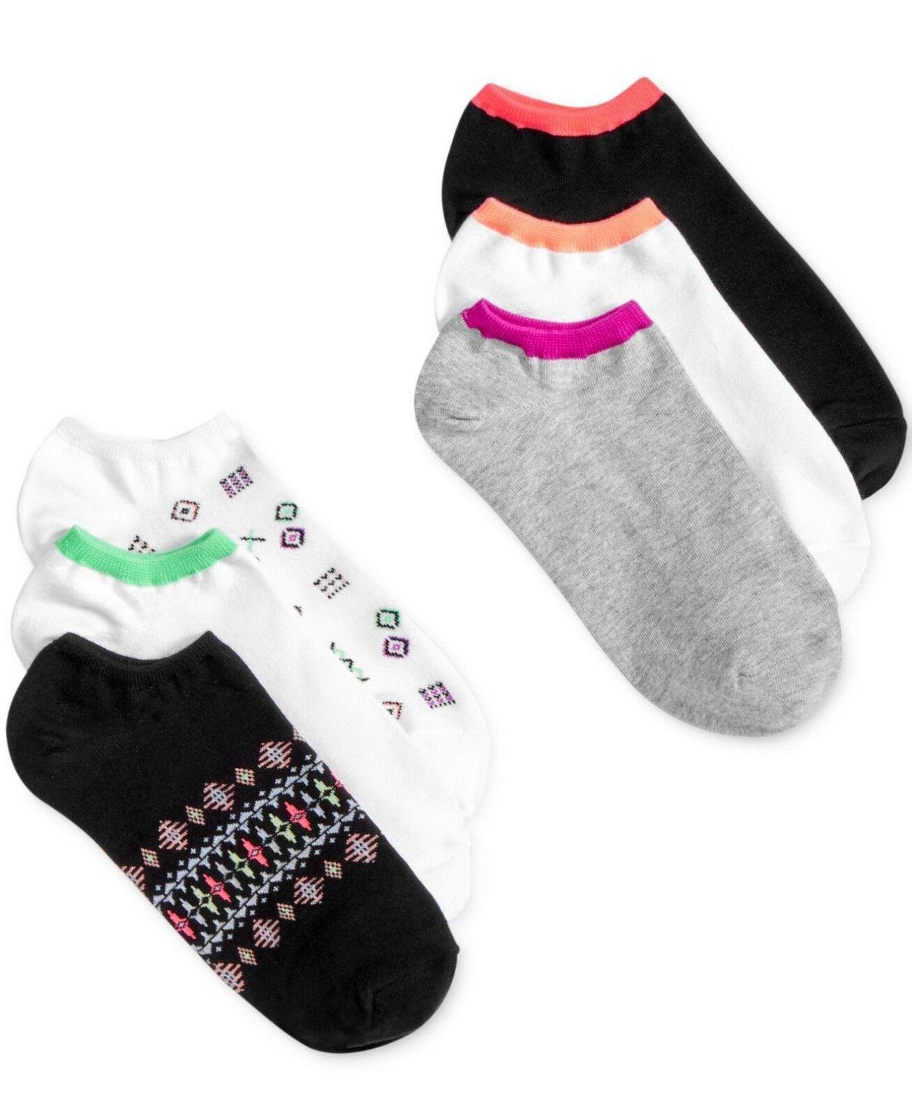 6-pairs HUE Cotton Liner Sport Socks Geo Pack OS