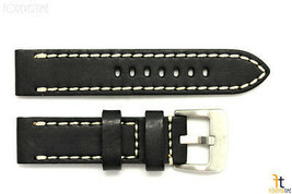 22mm Schwarz Glattleder Uhrenarmband Gurt mit / Stichen Passt Luminox - $45.54