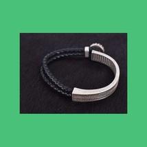 Montana Silversmith Leather Rope Silver Bracelet CZ  image 2