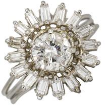 1.03 Carat Diamond Sun Starburst Cocktail Ring in 14k White Gold - $2,352.00