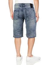 LR Scoop Men's Moto Quilted Distressed Painted Skinny Slim Fit Jean Denim Shorts image 13