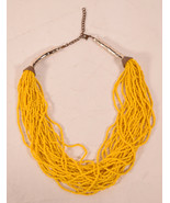 Vintage Multi Strand Mustard Yellow Seed Beed Bead Necklace  - $23.76