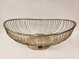 Vintage Silverplated Oval Wire Bread Basket from Leonard Hong Kong - $39.59
