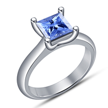 Solitaire Engagement Ring Princess Cut Blue Sapphire White Gold Over 925... - $68.99