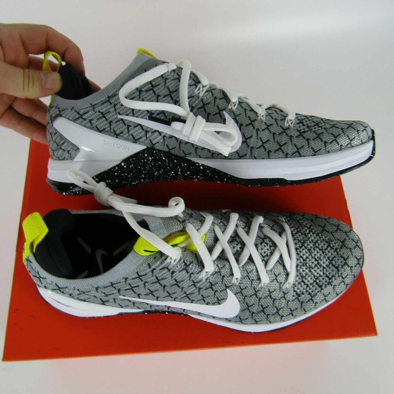 Nike Metcon DSX Flyknit 2X Mens Black White Yellow Training Running AO2807-017 image 6