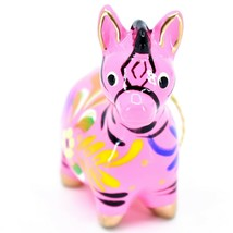 Handcrafted Painted Ceramic Pink Zebra Confetti Ornament Made in Peru image 2