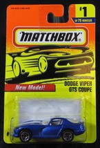 1997  Matchbox  Blue  Dodge Viper GTS Coupe  Dented Blister  Card #1    MB-6 - $2.25
