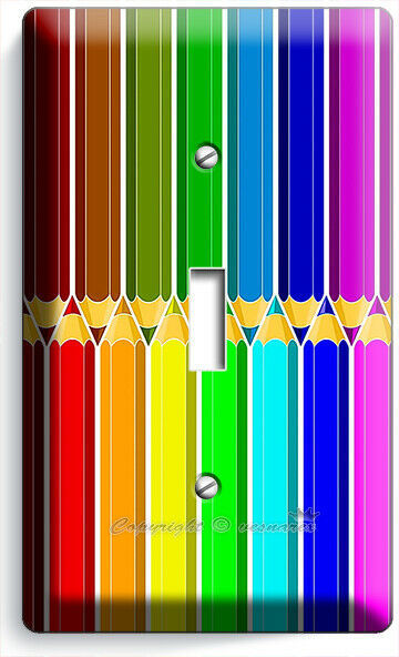 BRIGHT COLOR PENCILS PATTERN LIGHT SWITCH OUTLET PLATE ART HOBBY STODIO HD DECOR