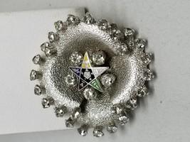 Beautiful Eastern Star Logo Silver Tone Pin with Rhinestones - $17.99