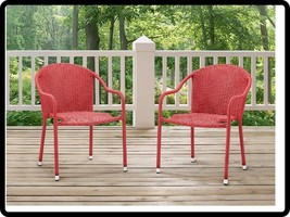 Stackable Wicker Dining Chairs Patio Outdoor Deck Porch Furniture Set Of... - $2.929,40 MXN