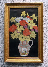 WOVEN EMBROIDERY SILK ART WORK FRAMED OF YELLOW, ORANGE & PINK FLOWERS I... - $43.95