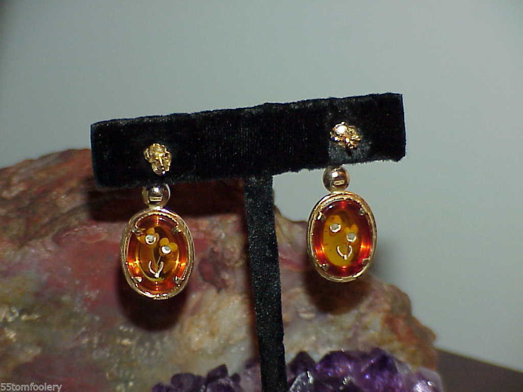 14k 6mm Pearl Carved Amber Flowers Stud Post Back Earrings Yellow Gold Vintage