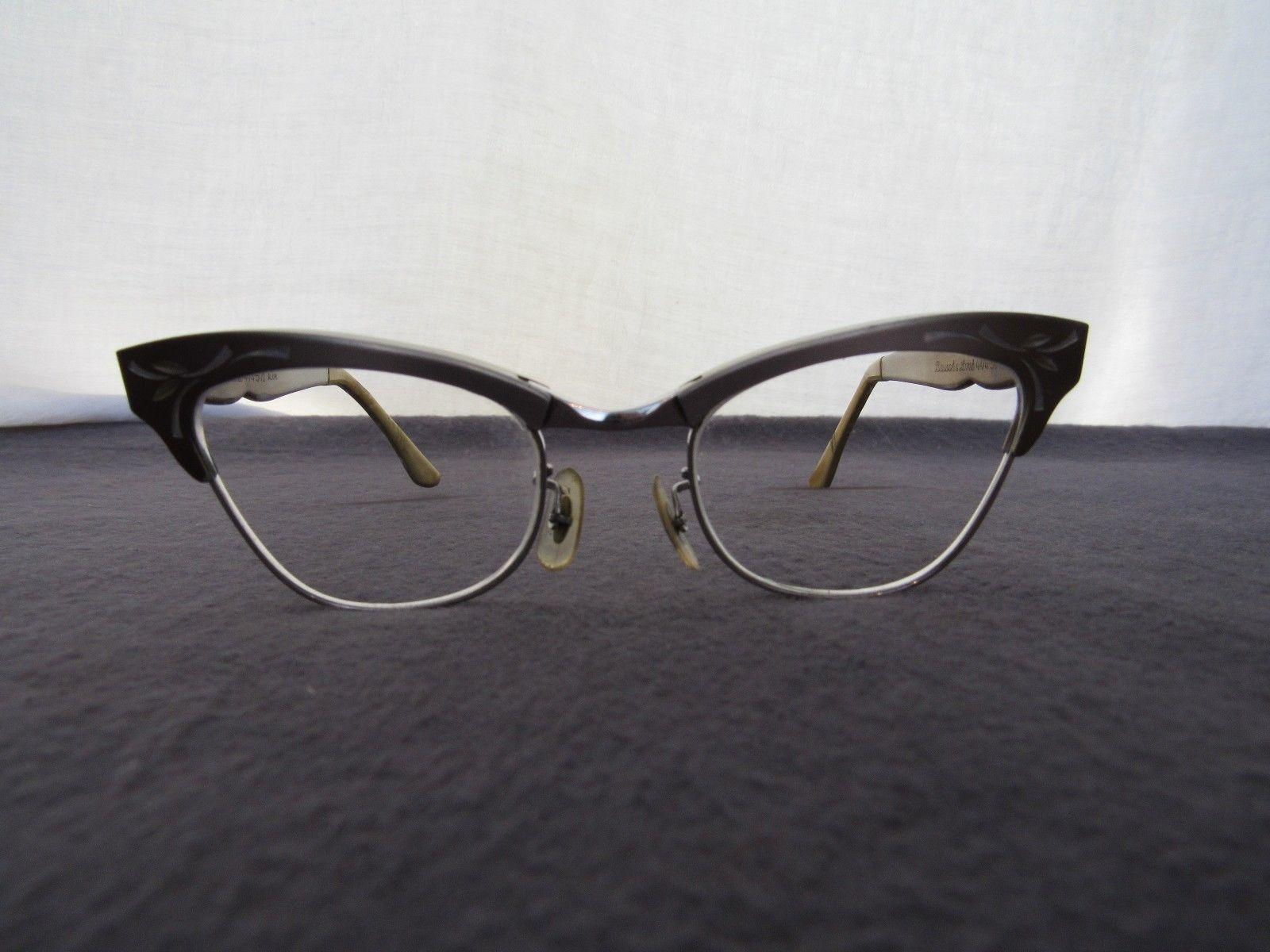 Vtg 1950's Bausch Lomb Cat Eye Ladies Glasses BiFocals 4 1/4 - 5 1/2
