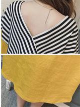 Maternity Dress Patchwork Color Block Stripes Batwing Sleeve V Neck Loose Dress image 8