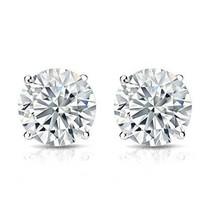 2CT Charles & Colvard 18K White Gold Moissanite Stud Earrings Certified ... - $608.84