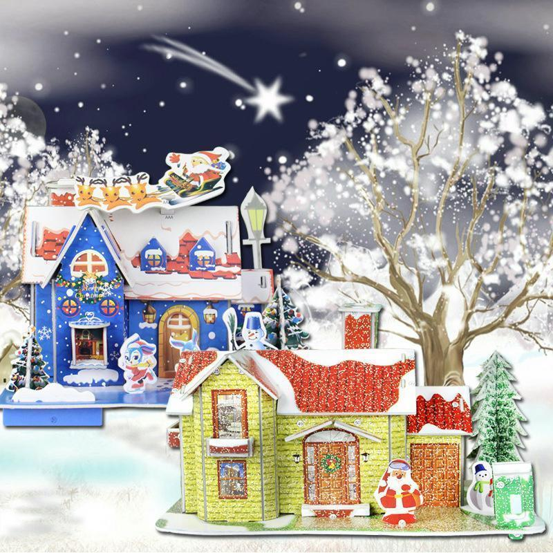 Merry Christmas Puzzle Diy 3d Money Box New Year Cartoon House Decorations Gifts