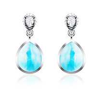 Dominican Sky Blue 10 x 8 MM Pear Shape Larimar Handmade Drop 925 Silver... - $54.01