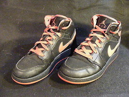 Girl's Nike Air Jordan 1 Mid Grade School Red/Black Shoes 555112-029 Siz... - $21.21