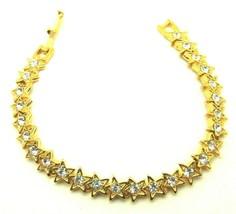 "Vintage Rhinestone Star Bracelet 7"" Celestial Crystal Mint 1980 Made in ... - $23.70"