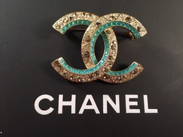 Authentic CHANEL silver and light green tone Brooch pin - $280.00