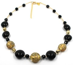 """NECKLACE BLACK YELLOW MURANO GLASS DISC & GOLD LEAF, MADE IN ITALY, 50cm, 20"""" image 1"""