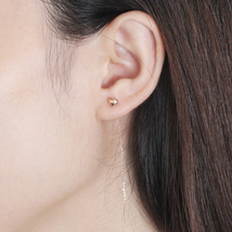 Ear Thread Series 18k Rose Gold Mesh Chain Heart Dangle Earrings image 6