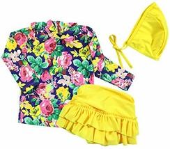 Baby Girls Three Pieces Floral Sun Protection Swimsuit Bikini Set 4-5T, ... - $19.63