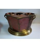 art deco MCM style copper brass 2 bottle wine chiller ice bucket - $74.25