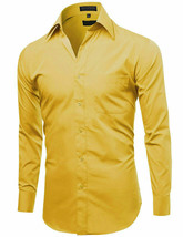 Omega Italy Men's Long Sleeve Solid Regular Fit Yellow Dress Shirt - S image 2