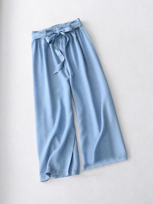 Light Blue Denim Crop PALAZZO PANTS TROUSERS Women Blue Loose Wide Leg Pants