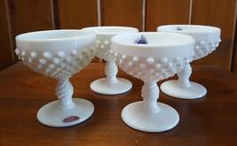 Fenton Art Glass VINTAGE Milk Glass Hobnail Sherbet Stem - Set of 4 - $29.95