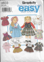 """Simplicity Design Your Own Easy Doll Clothes Pattern #0603-18"""" Doll Clothes - $5.86"""