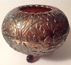 Rose Bowl Westmoreland Amethyst Purple Carnival Glass Footed Louisa Pattern - $47.52