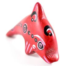 SMOLArt Hand Carved Painted Soapstone Red Miniature Dolphin Figurine Made Kenya image 4