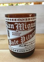 Vtg San Miguel Pale Pilsen Beer Drinking Glass Man Cave Bar Cut Smoothed... - $19.55
